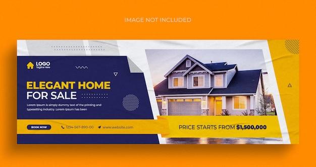 Volantino per banner web di social media di proprietà di case immobiliari e modello di progettazione di foto di copertina di facebook
