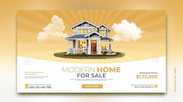 Modello di post di promozione di marketing sui social media per la progettazione di banner per la vendita di case immobiliari