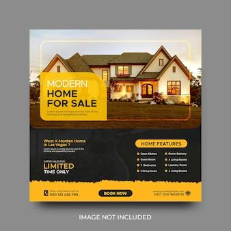 Modello di post quadrato sui social media per la promozione della vendita di case immobiliari psd