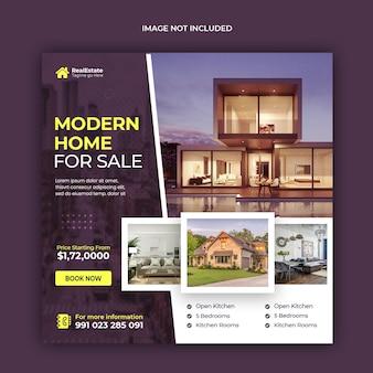 Banner di social media di vendita di case immobiliari o modello di post di instagram