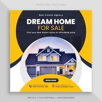 Banner di social media di vendita di case immobiliari e modello di post instagram quadrato