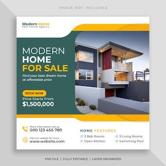 Modello di post sui social media e banner web per la vendita di case immobiliari