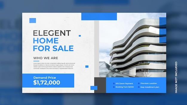 Volantino di vendita di case immobiliari con download gratuito di modello di sfondo blu moderno psd