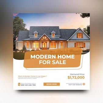 Modello di post sui social media di promozione di vendita di case immobiliari