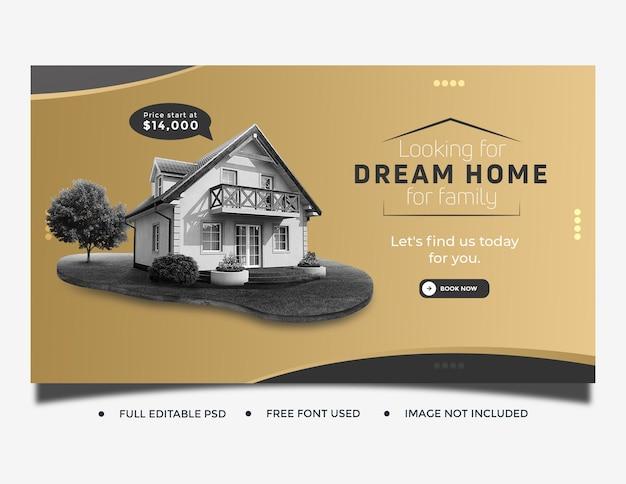 Modello di copertina del post sui social media della casa immobiliare