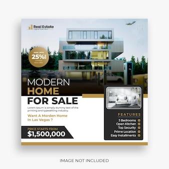 Post di social media della casa immobiliare o modello di banner quadrato