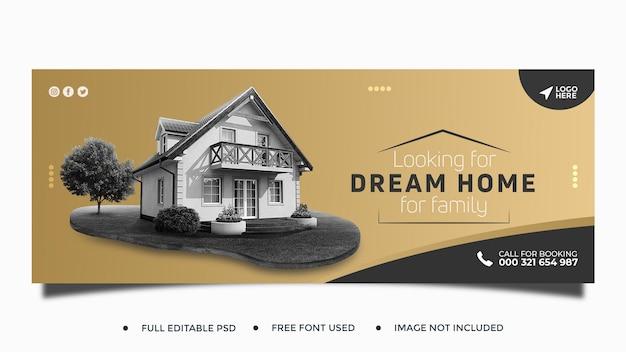 Modello di banner web post sui social media della casa immobiliare