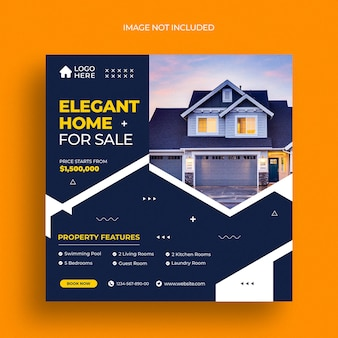 Post instagram immobiliare o modello di banner web quadrato