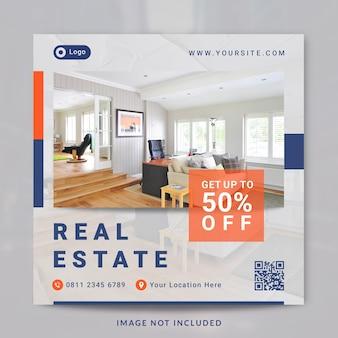 Modello di post e banner sui social media della proprietà della casa interna immobiliare