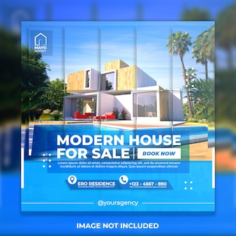 Modello di social media casa moderna immobiliare e modello di post di instagram