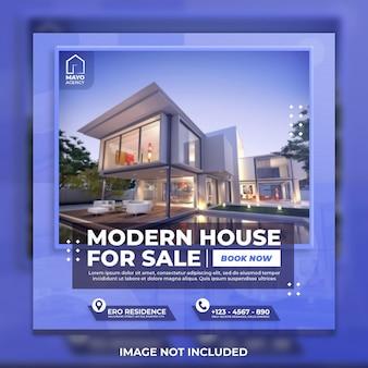 Modello di social media casa moderna immobiliare e post di instagram
