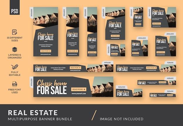 Modello di bundle banner multiuso immobiliare