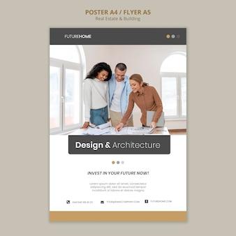 Modello di stampa immobiliare con foto