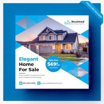 Banner di social media di vendita immobiliare o modello di volantino quadrato