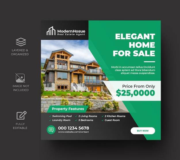 Banner di social media immobiliare o modello di volantino quadrato