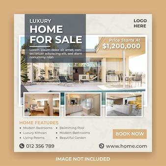 Modello di banner di social media immobiliari