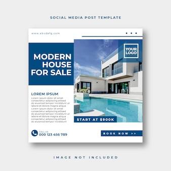 Post di social media immobiliare o modello pubblicitario banner web quadrato