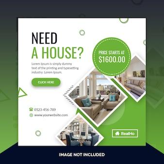 Modello di banner quadrato immobiliare