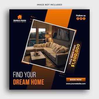 Banner web immobiliare e social media post design modello
