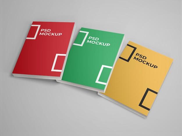 Mockup con copertina morbida di 3 libri
