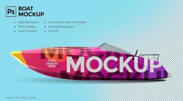 Vista laterale realistica del design del mockup della barca 3d