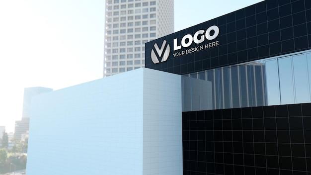 Realistico 3d logo aziendale di costruzione mockup