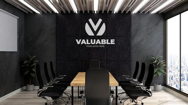Mockup realistico del logo dell'azienda 3d nella sala riunioni d'affari dell'ufficio