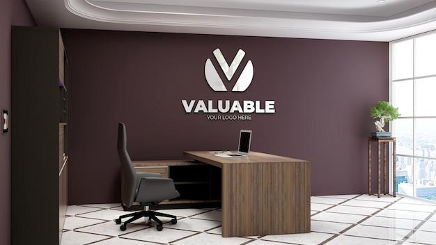 Mockup realistico del logo dell'azienda 3d nello spazio del manager dell'ufficio con interni di design di lusso