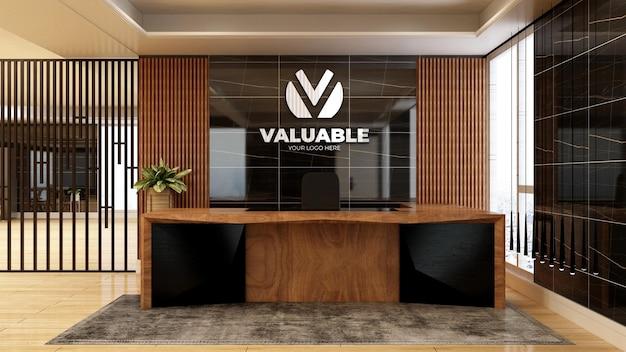 Mockup realistico del logo dell'azienda 3d nell'interno di design di lusso della stanza della reception dell'ufficio in legno