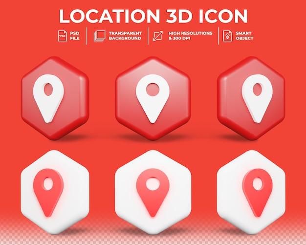 Posizione 3d realistica o icona di localizzatore di mappa isolato 3d