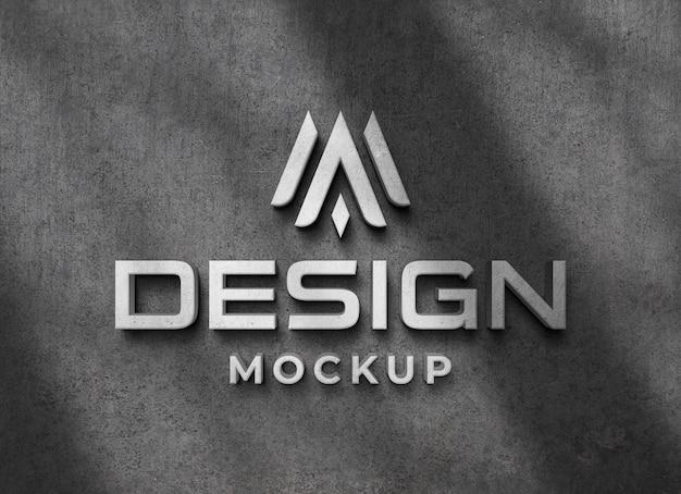 Mockup di logo 3d realistico su muro di cemento con sovrapposizione di ombre