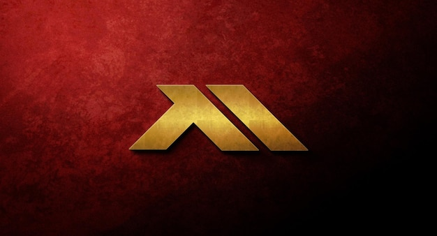 Realistico design mockup logo 3d nel muro