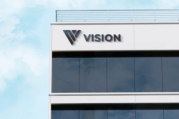 Realistico 3d logo mockup segno azienda edificio bianco
