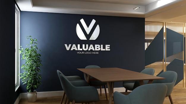 Mockup realistico della parete del logo 3d nella sala riunioni dell'ufficio minimalista