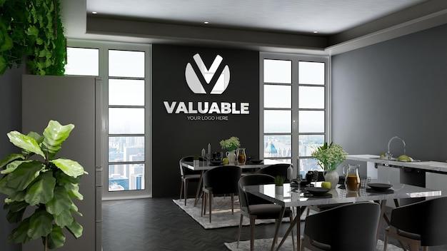 Mockup realistico della parete del logo 3d nella sala ristorante dell'ufficio