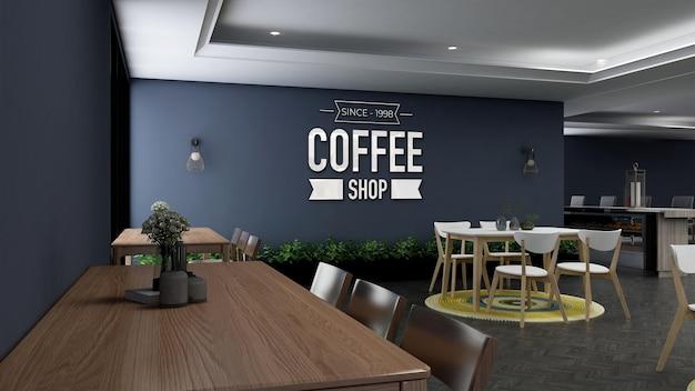 Mockup realistico della parete del logo 3d nella stanza del ristorante dell'ufficio