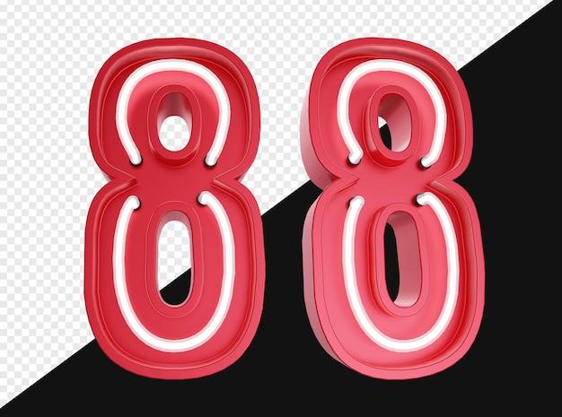 Realistico 3d numero otto con luce al neon isolata