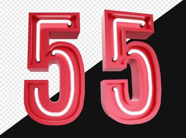 3d realistico numero cinque con luce al neon isolata
