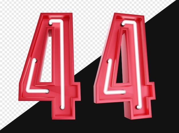 3d realistico numero quattro con luce al neon isolata
