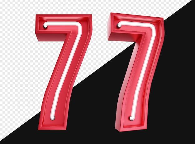 Realistico 3d numero sette con luce al neon isolata