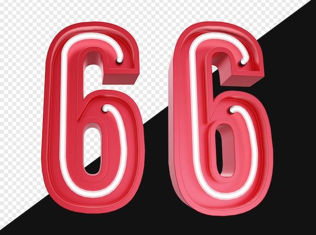 Realistico 3d numero sei con luce al neon isolata
