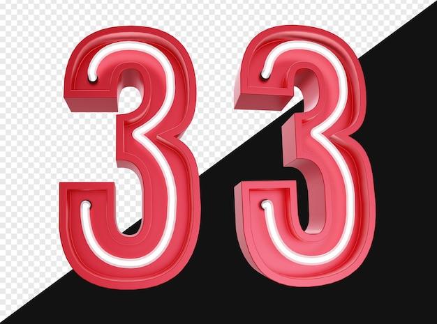 3d realistico numero tre con luce al neon isolata