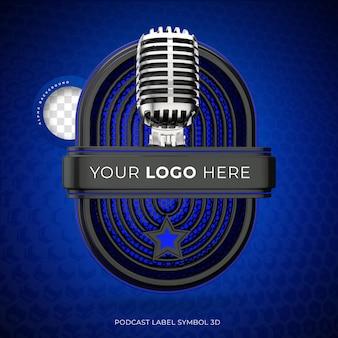 Logo di podcast 3d realistico con rendering del microfono