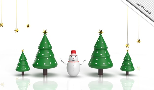 Realistico 3d rende l'albero di natale con pupazzo di neve