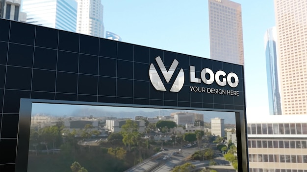 Realistico 3d segno logo mockup edificio aziendale