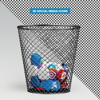 Icone social media 3d realistiche nel rendering del cestino
