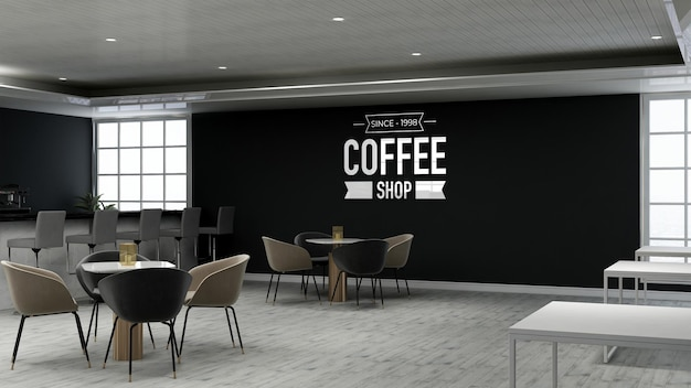 Mockup realistico del logo della parete 3d nella caffetteria