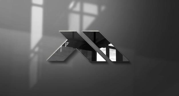 Progettazione realistica del mockup del logo della parete 3d