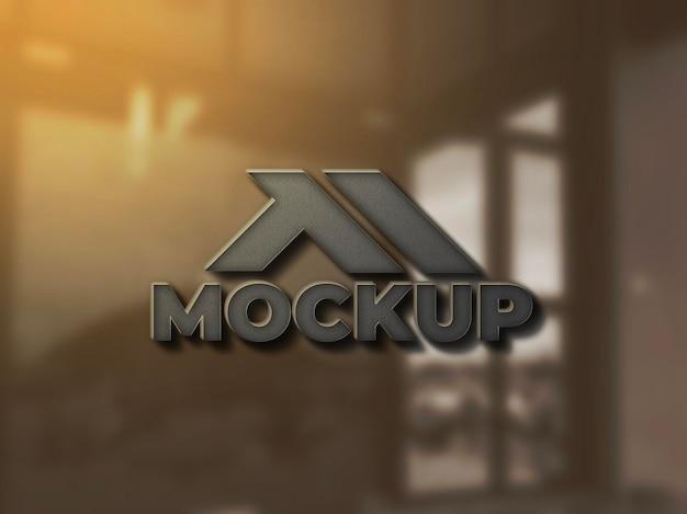 Design realistico del mockup del logo della parete 3d