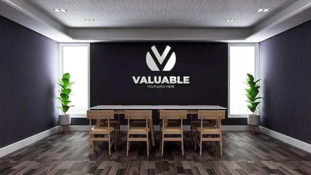 Mockup realistico del logo della parete 3d nella sala riunioni minimalista dell'ufficio in legno Psd Premium